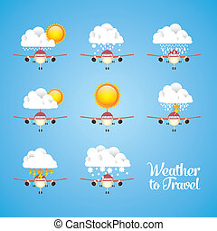 Airplane icons - Illustration of airplane icons. Weather for...