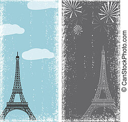 grunge banners with eiffel tower