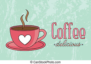 coffee vector - coffee cup illustration over green...