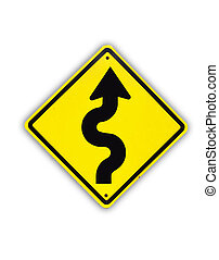 Winding yellow traffic sign on white background