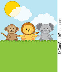 baby animals over landscape with clouds . vector...