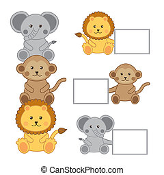 baby animals with announcements isolated vector illustration...
