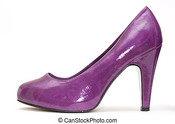 Womens high heels on white background - Womens purple patent...