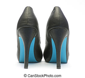 black female shoes on a white background - black patent...