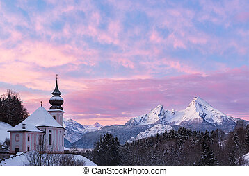 Watzmann at sunset with church, Bavaria, Berchtesgaden,...