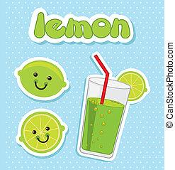 lemon juice over blue background. vector illustration