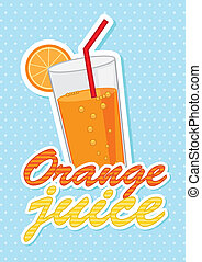 orange juice over blue background vector illustration