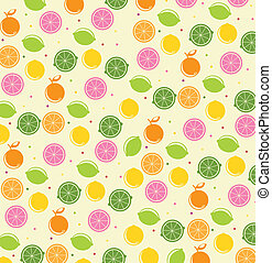 citrus icons over beige background, pattern vector...