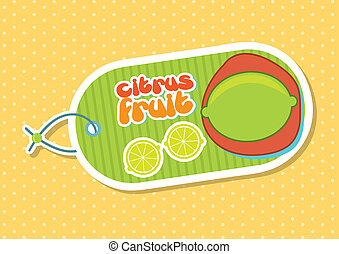 citrus fruit label over yellow background vector...