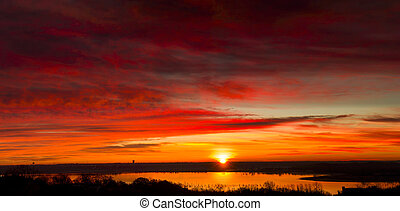 Benbrook Lake Sunrise - Colorful sunrise this morning over...