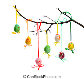 easter tree - colorful easter eggs hanging on branch...