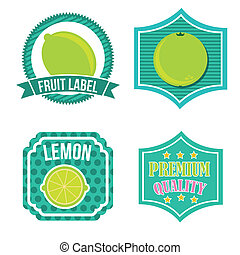 citrus fruit labels over white background. vector...