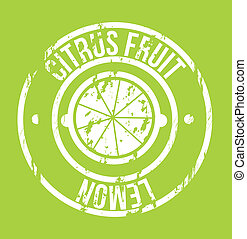 citrus fruit seal over green background, vector illustration