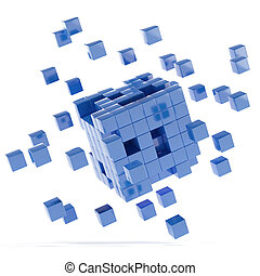 Blue cubes isolated on a white background