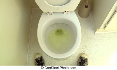Pee Splatter Flush - Funny POV shot of a man, having just...