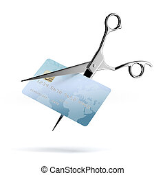 Scissors Cutting up a Credit Card isolated on a white...