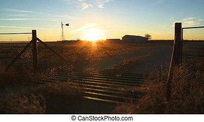 Sunset 04 - Time lapse sunset on a farm outside of Amarillo,...