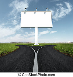 Blank highway and road sign with fork. 3d render