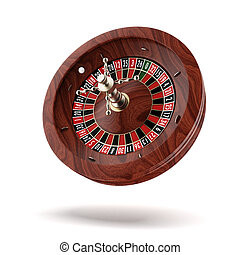 Roulette wheel - Roulette wheel isolated on a white...