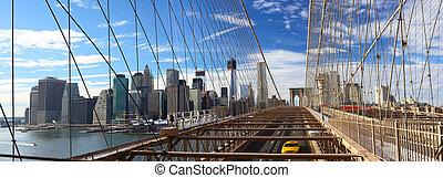 NYC Brooklyn Bridge panorama - Panoramic view of Manhattan...
