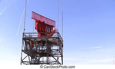 Airport Radar Tower 01 - Red airport radar rotating on top...