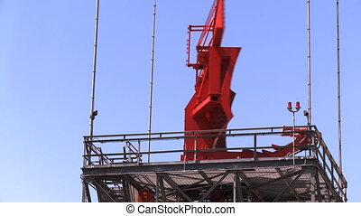 Airport Radar Tower 02 (loop) - Red airport radar rotating...