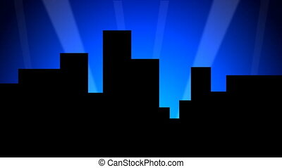 Skyline 01 24fps - A stylized and cartoonish city backdrop...