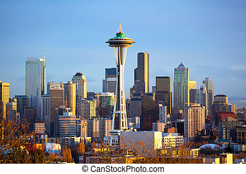 Seattle skyline - Sunset view of Seattle skyline with Space...