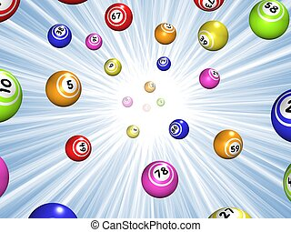 Bingo starburst - Illustration of Bingo balls over a blue...