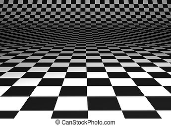 Curved chequered floor - Illustration of a black and white...