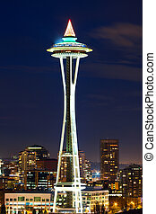 Space Needle in Seattle at night, WA, USA