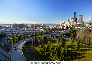 Seattle skyline with traffic, WA, USA