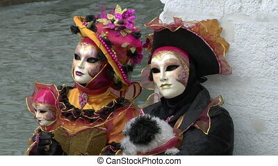 venetian mask 22 - Person in Venetian costume attends the...