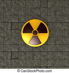 nuclear symbol on stone tiles background - 3d illustration