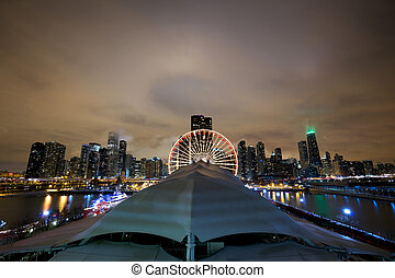 Chicago skyline at night - Chicago skyline from Navy Pier at...
