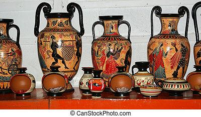 Ceramics souvenir shop, traditional Greek vases