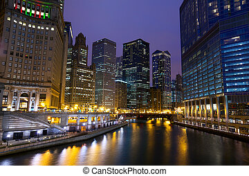 Chicago River Walk at night