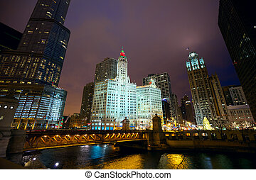 Chicago at night - Chicago River skyline and Michigan Avenue...