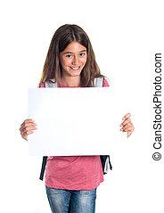 colegiala, papel, tenencia, blanco