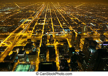 Night city lights - Aerial city night view of Chicago, IL,...