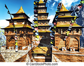 Buddhist temple in mountains with traditional praying flags