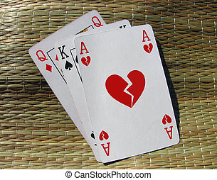 Broken heart card - Three playing cards with broken heart...