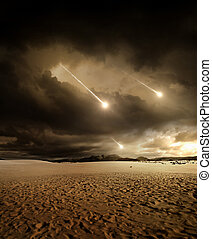 Meteors to the sky - Some meteors rain from the sky through...