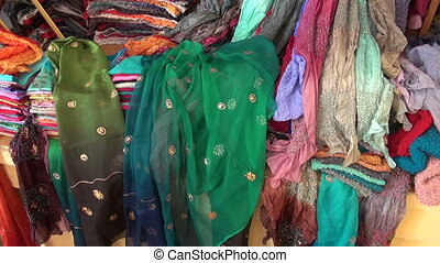 colorful Kashmir silk in market