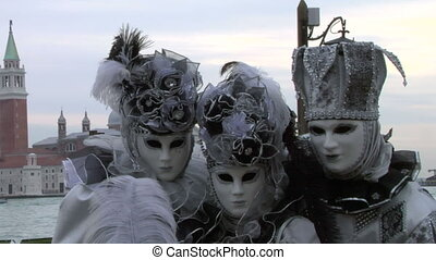 venetian mask 43 - Person in Venetian costume attends the...