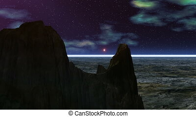 UFO against rocks - The night sky, bright stars, float...