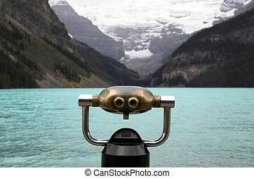 Lake Louise, Alberta, Banff National Park, Canada, with coin...