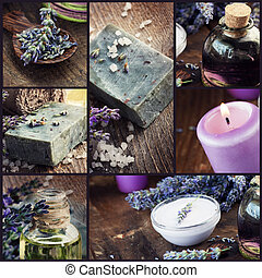 Lavender dayspa collage - Spa collage series. Collage of...