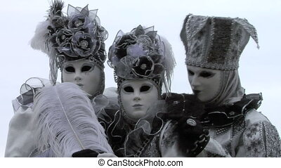 venetian mask 44 - Person in Venetian costume attends the...