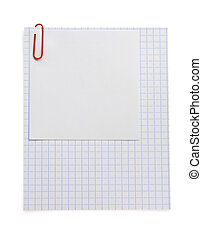 note checked paper and clip on white - note checked paper...